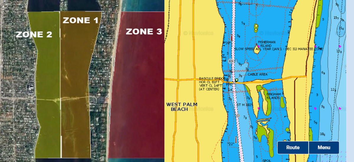 The U.S. Coast Guard restricted zones besides a Navionics chart of the same area. Visit this government site for a full description.