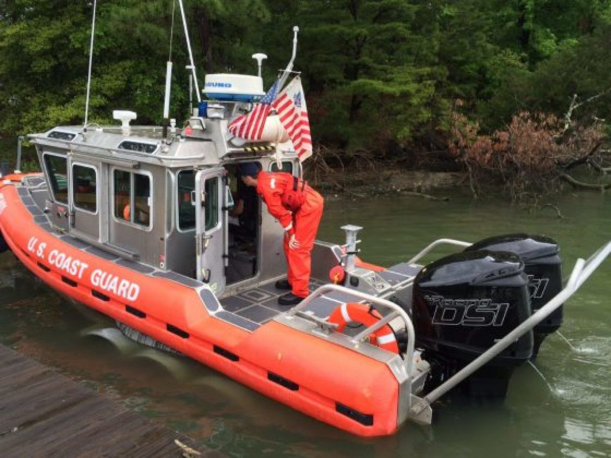 Launching the Response Boat-Small for performance testing of the 175HPMercury Optimax diesel outboard engines.