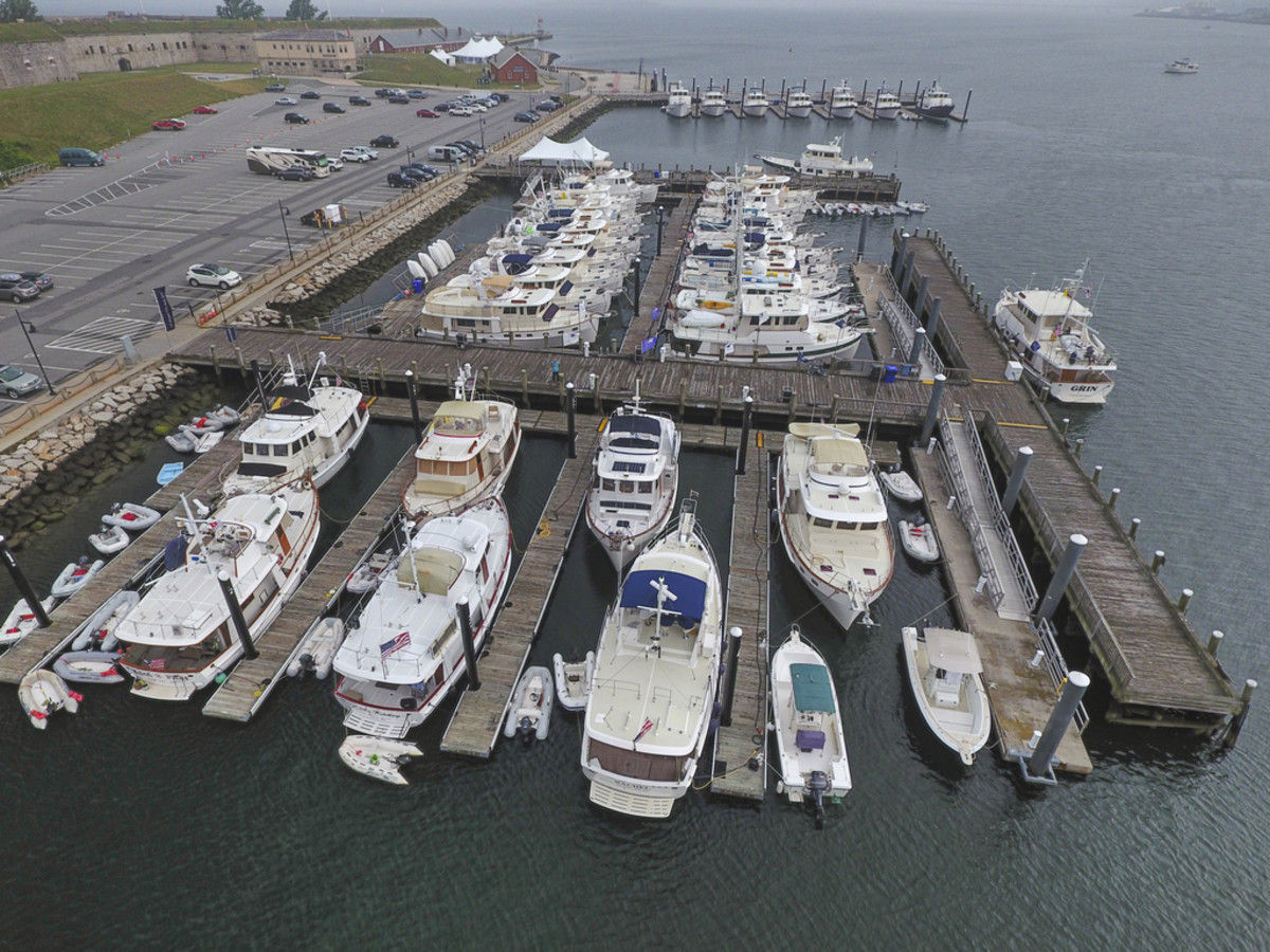An aerial shot of the 38 Kadey-Krogen yachts that gathered for the 40th Anniversary Rendezvous.