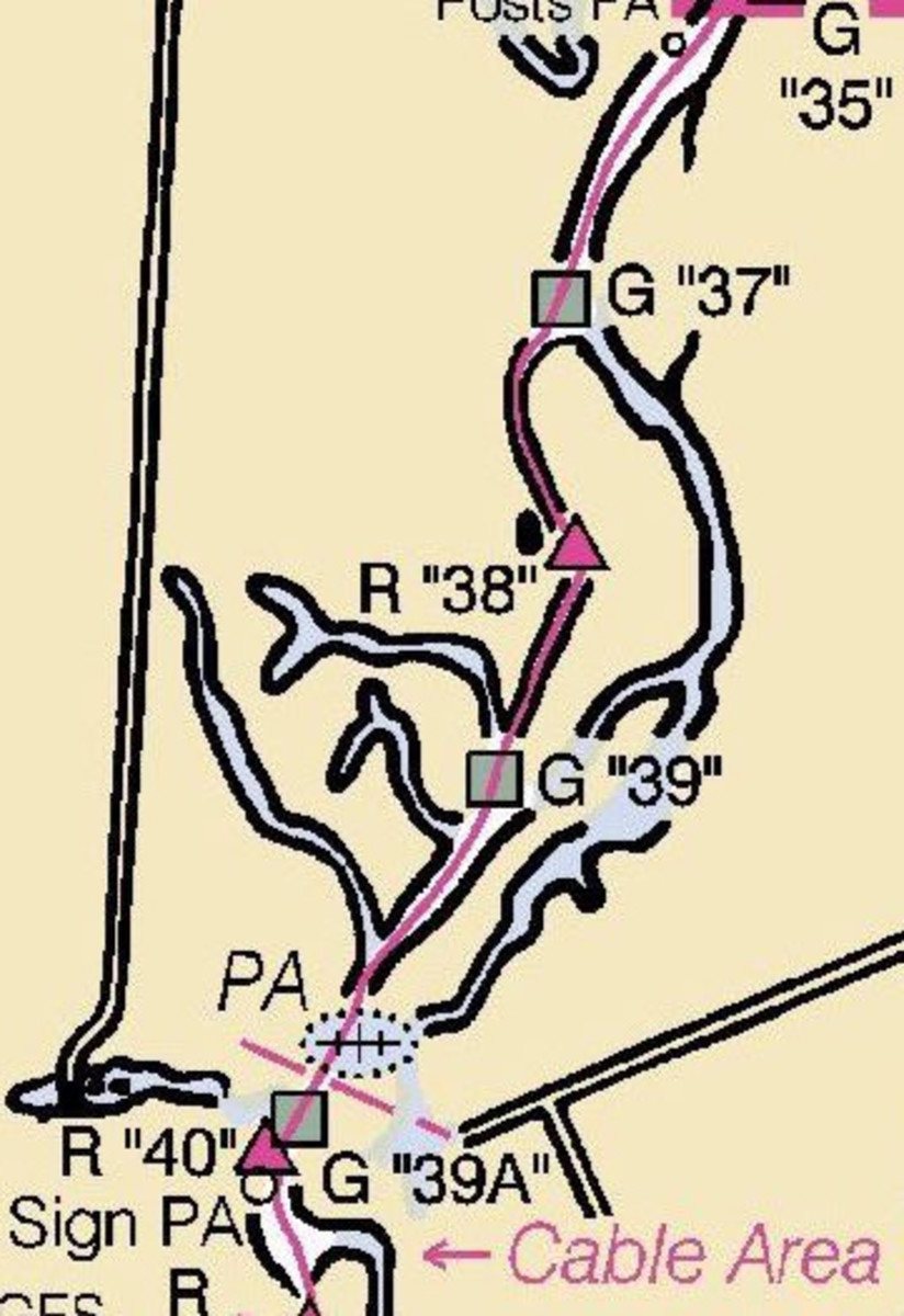 This is the magenta line at the accident scene prior to NOAA's decision to remove the line. Note that the scale of the chart is such that there's no way to conclude that the line might pass to the wrong side of Red Marker 38. Zoom in on an electronic chart, however, and there is literally room for error.