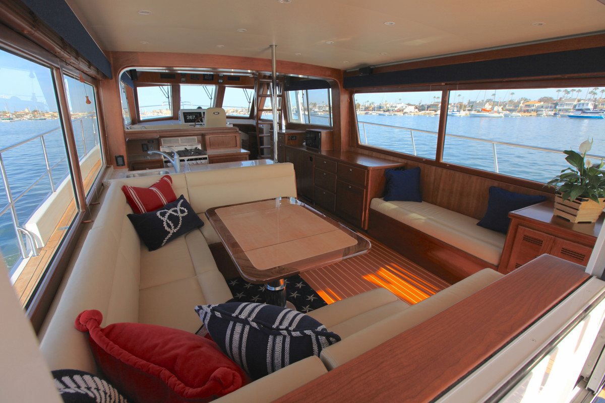 The Doug Zurn design takes full advantage of large windows throughout the saloon and pilothouse, with an open layout and a protected staircase to the bridge.