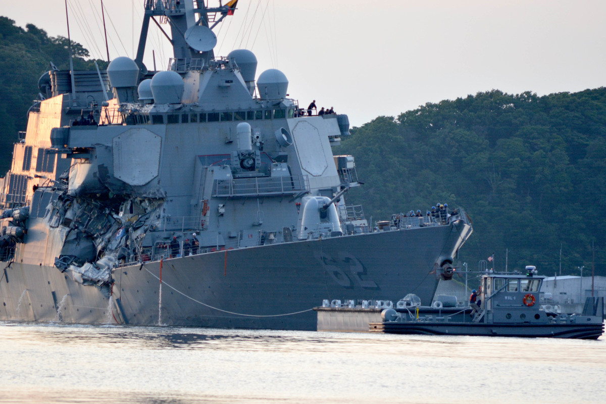The USS Fitzgerald after the collision with the merchant vessel Crystal.
