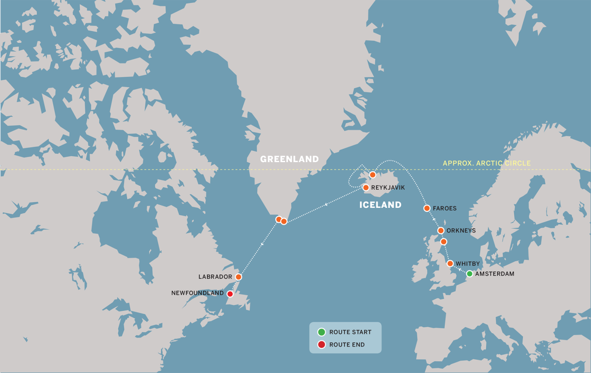 The Viking route that Four Seasons follows from Northern Europe to North America.