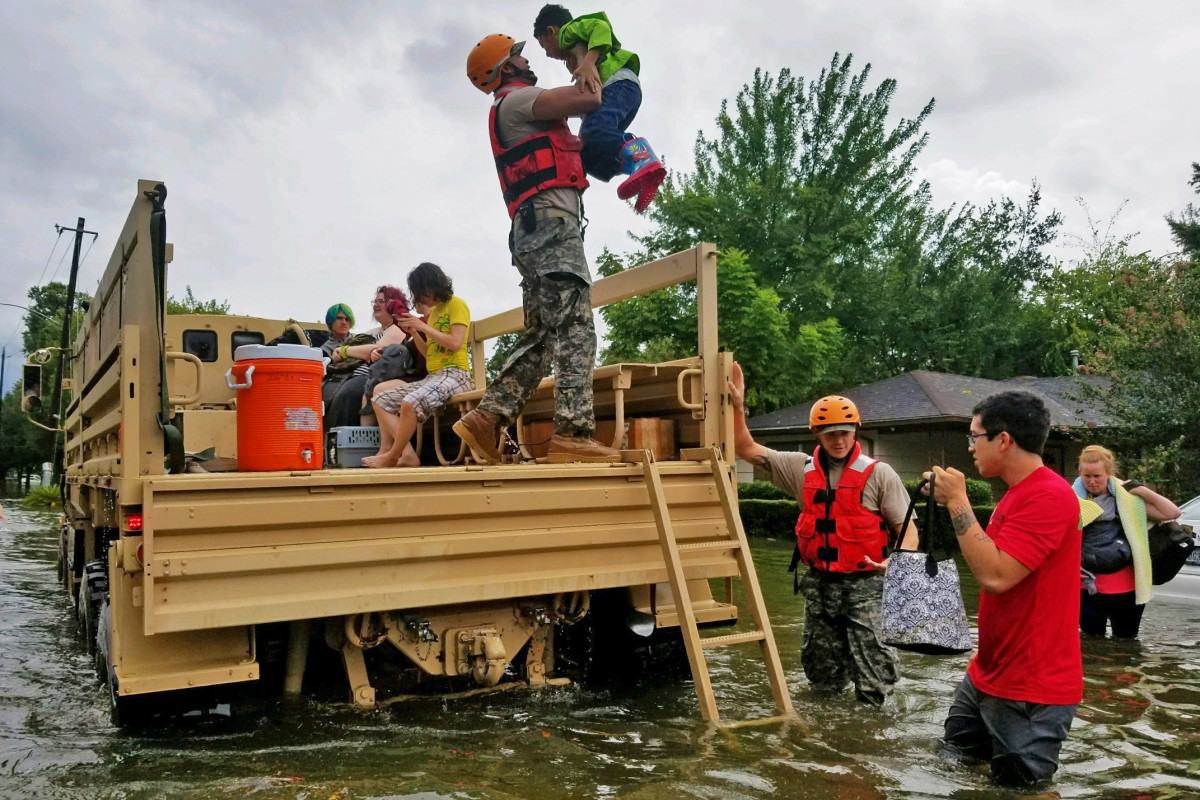Texas National Guard members assist in rescue efforts.
