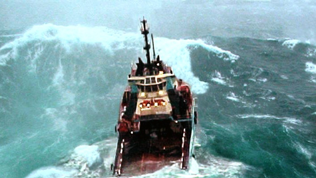 Rogue wave towers over commercial vessel