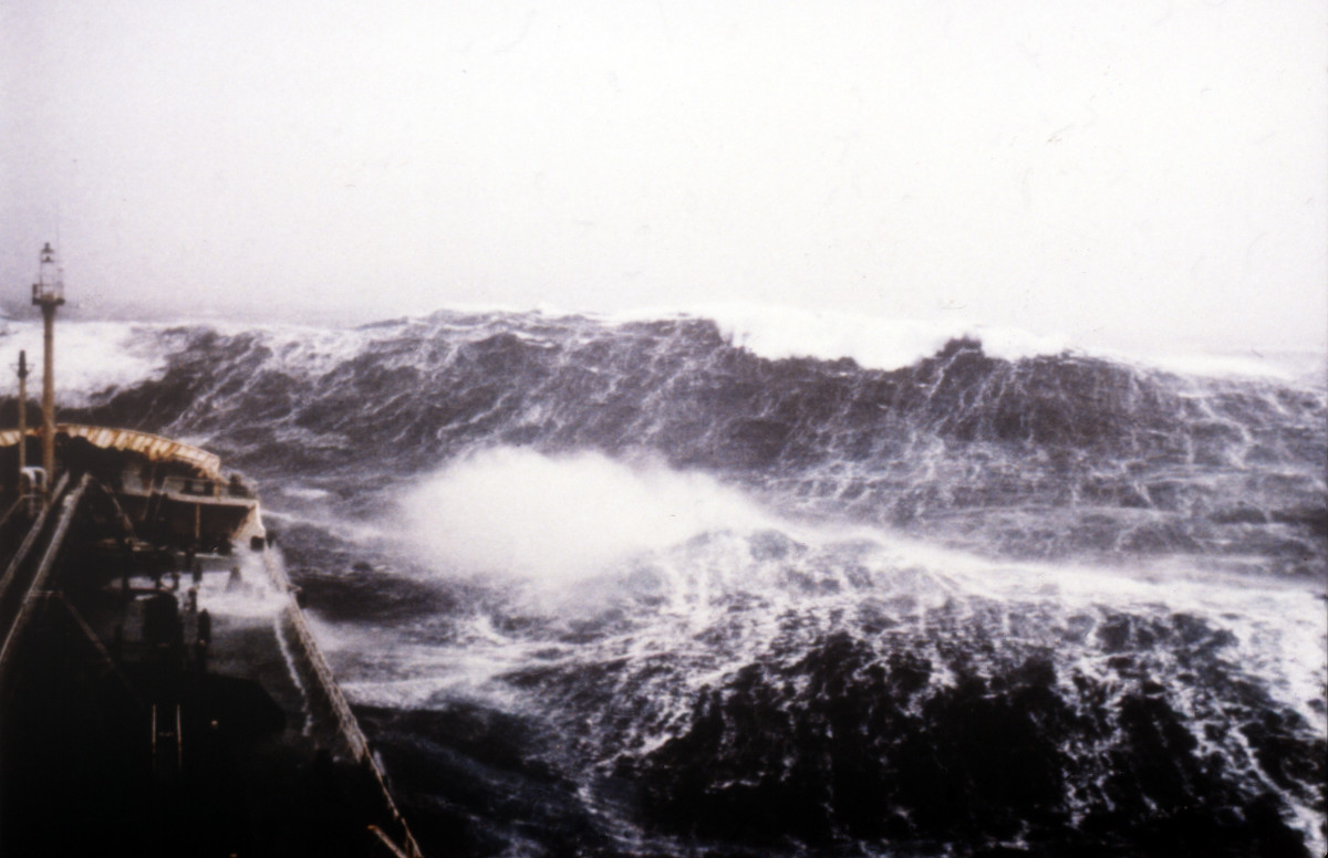Rogue waves can strike even in Force 12 conditions like the one pictured here.