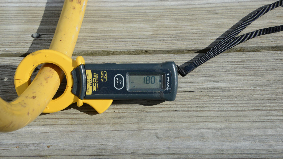 This clamp on ammeter reads 1.8 amps - well above the safe threshold of about 30 milliamps. This high reading indicates dangerous leakage of the shore power into the water.