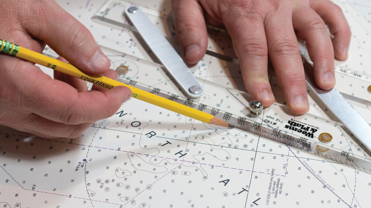 Using our parallel rulers, we transition our heading from the compass rose to our fix to lay out the bearing line of our DR.
