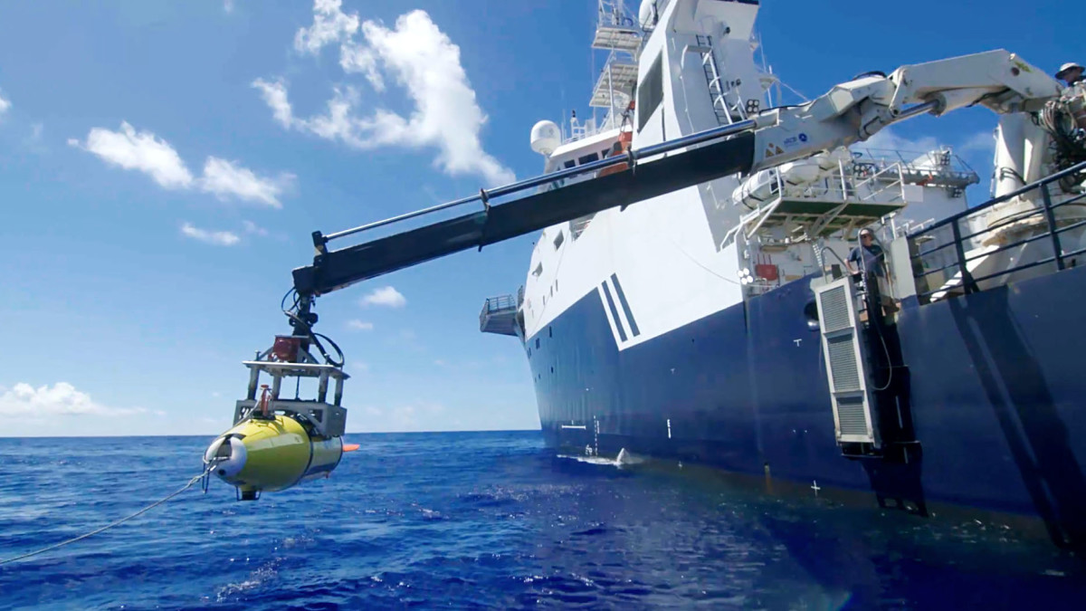 RV Petrel launching a Remus 6000 AUV, the only privately owned Remus 6000 in the world.