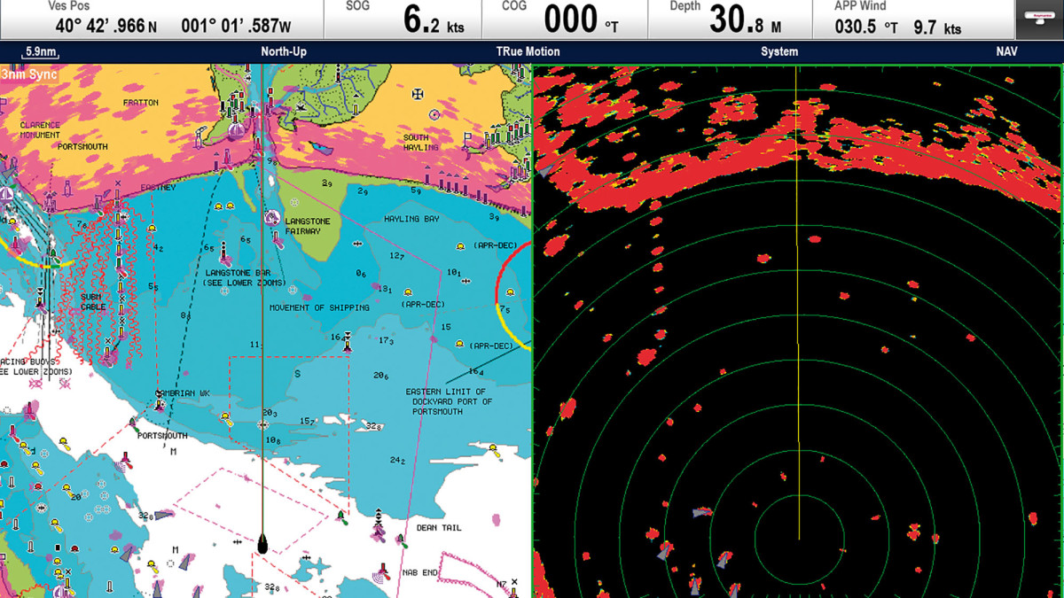 Raymarine MFD side by side of of radar overlay on a chart and the radar display.