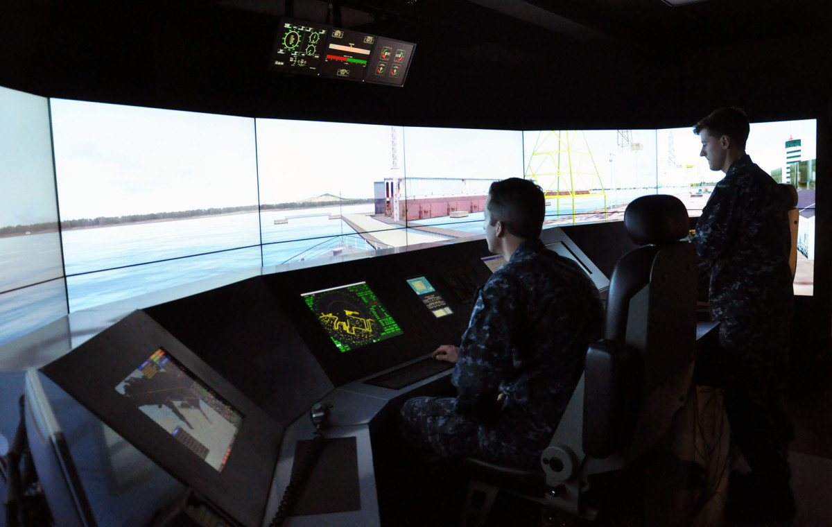 Training on the Littoral Combat Ship (LCS) Full Mission Bridge (FMB) simulator