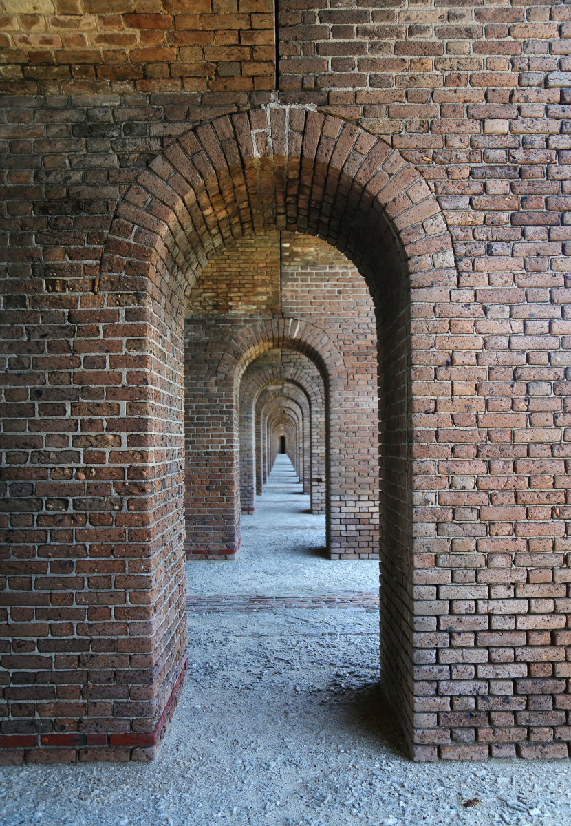 Communication arches leading from one casemate to another provide access through the fort.