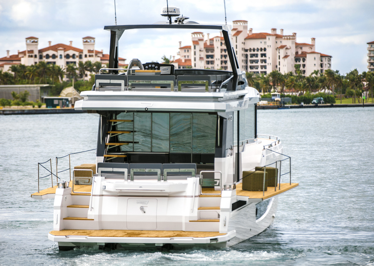 The Okean 50 with her port and starboard balconies open.