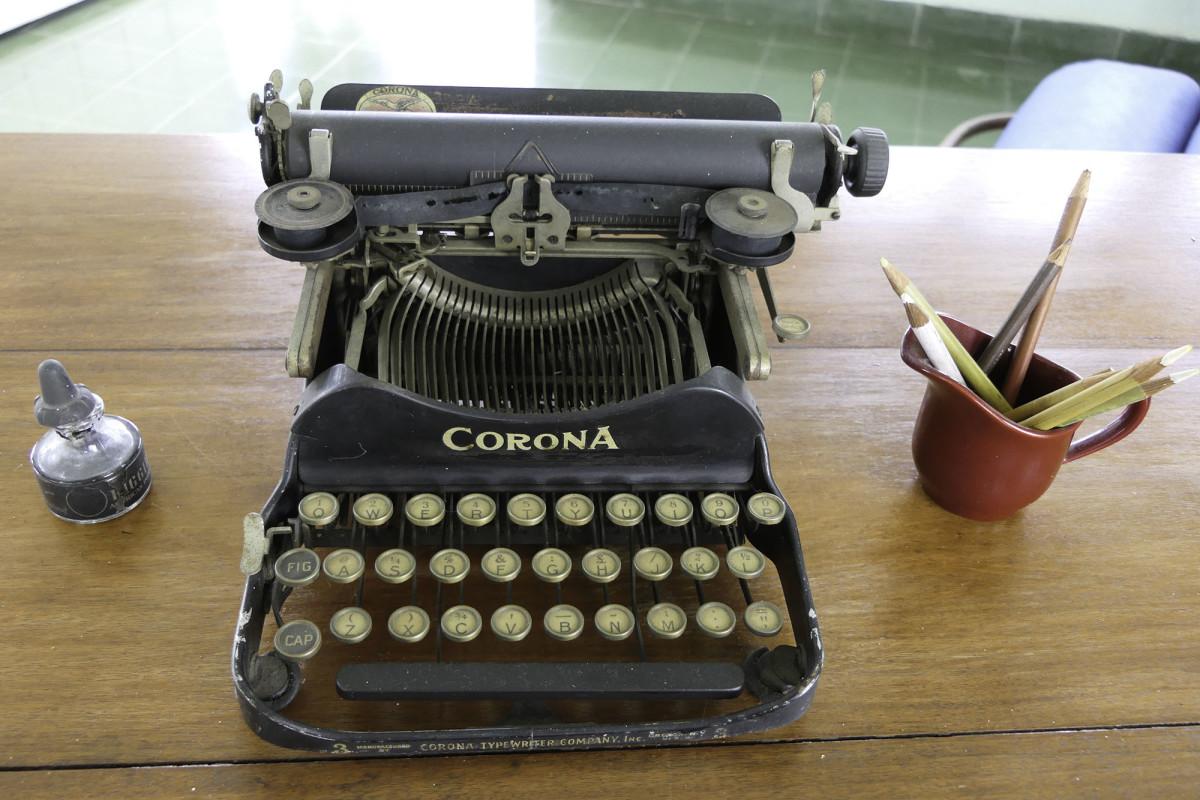 Hemmingway's           vintage Corona typewriter.