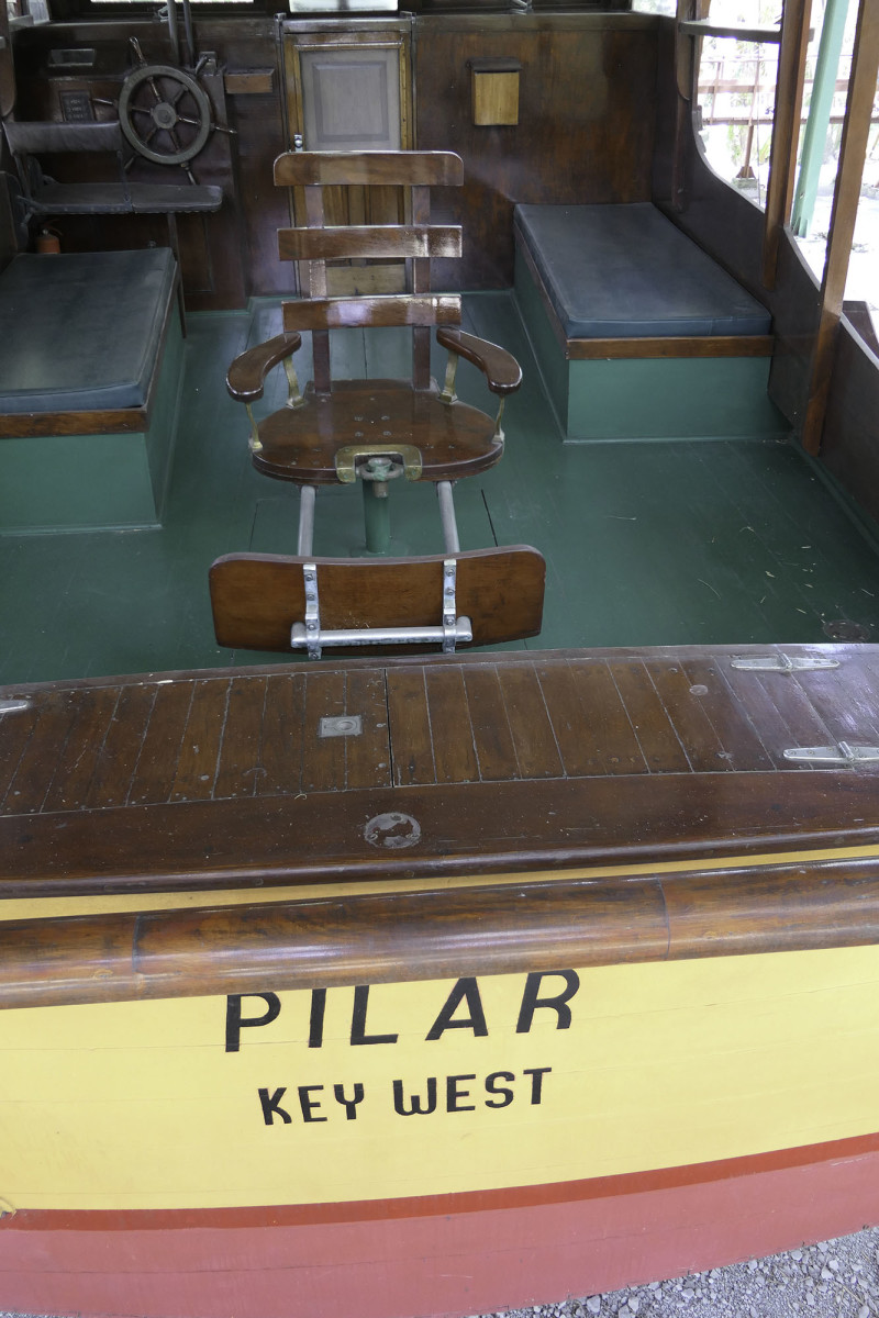 The ladder back fighting chair in the cockpit of Pilar shows very little signs of aging.