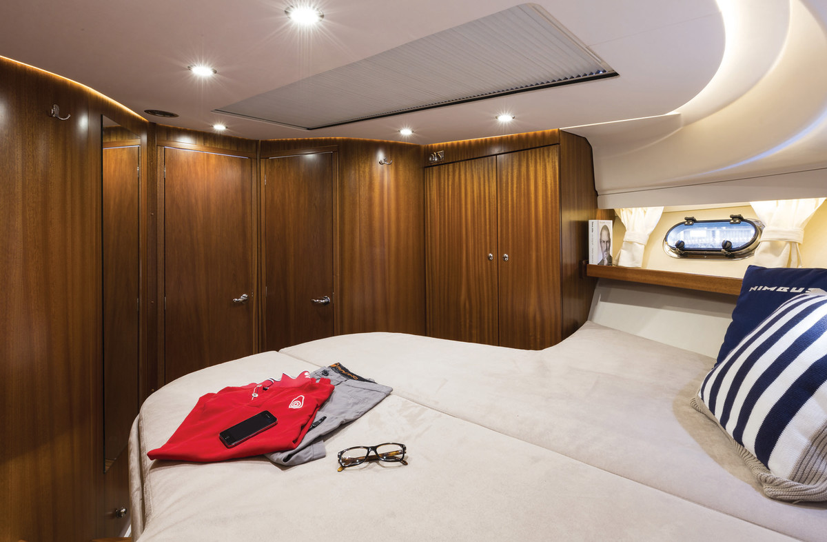 The forward stateroom features great natural light with an oversized skylight-style hatch.