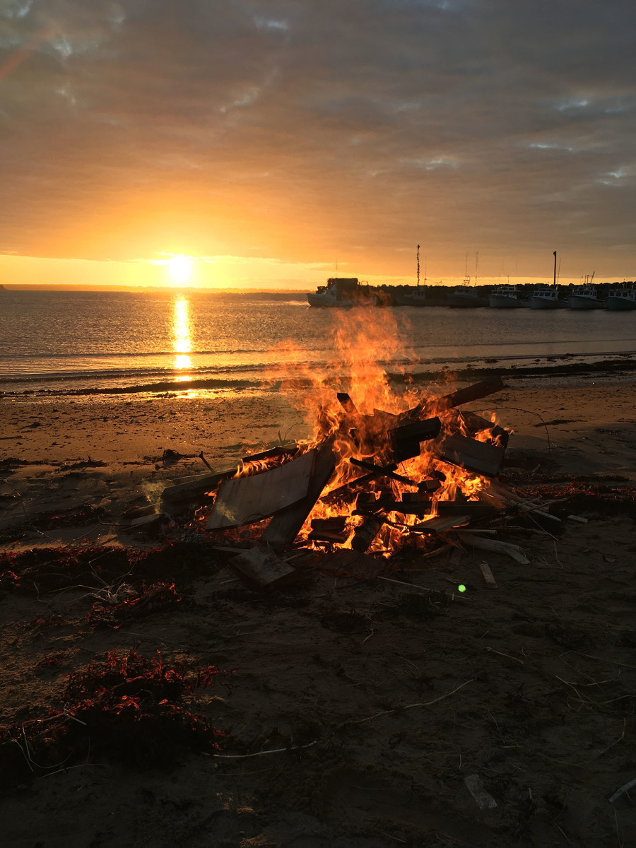 Sunset and bonfire on Sinclair's Island, along the Northumberland Strait.
