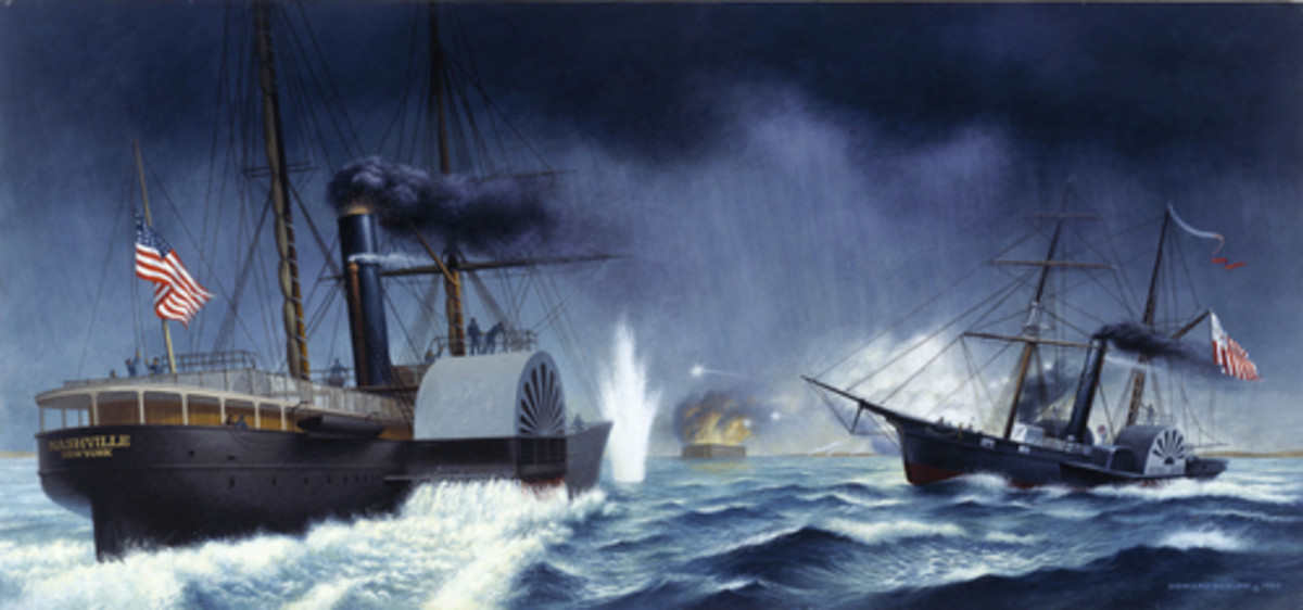 """Revenue Cutter Harriet Lane forces the merchant steamer Nashville to show its colors during the bombardment of Fort Sumter on April 12, 1861. This illustration, titled """"The Cutter Harriet Lane Fires across the Bow of Nashville,"""" was painted by Coast Guard artist Howard Koslow. (Coast Guard Collection)"""