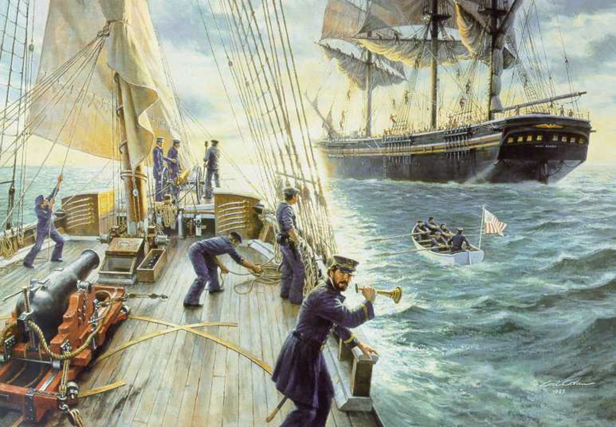 This painting depicts the cutter Morris on patrol in July 1861, when its crew boarded the merchant ship Benjamin Adams, while carrying 650 Scottish and Irish immigrants at the time (Coast Guard Collection)