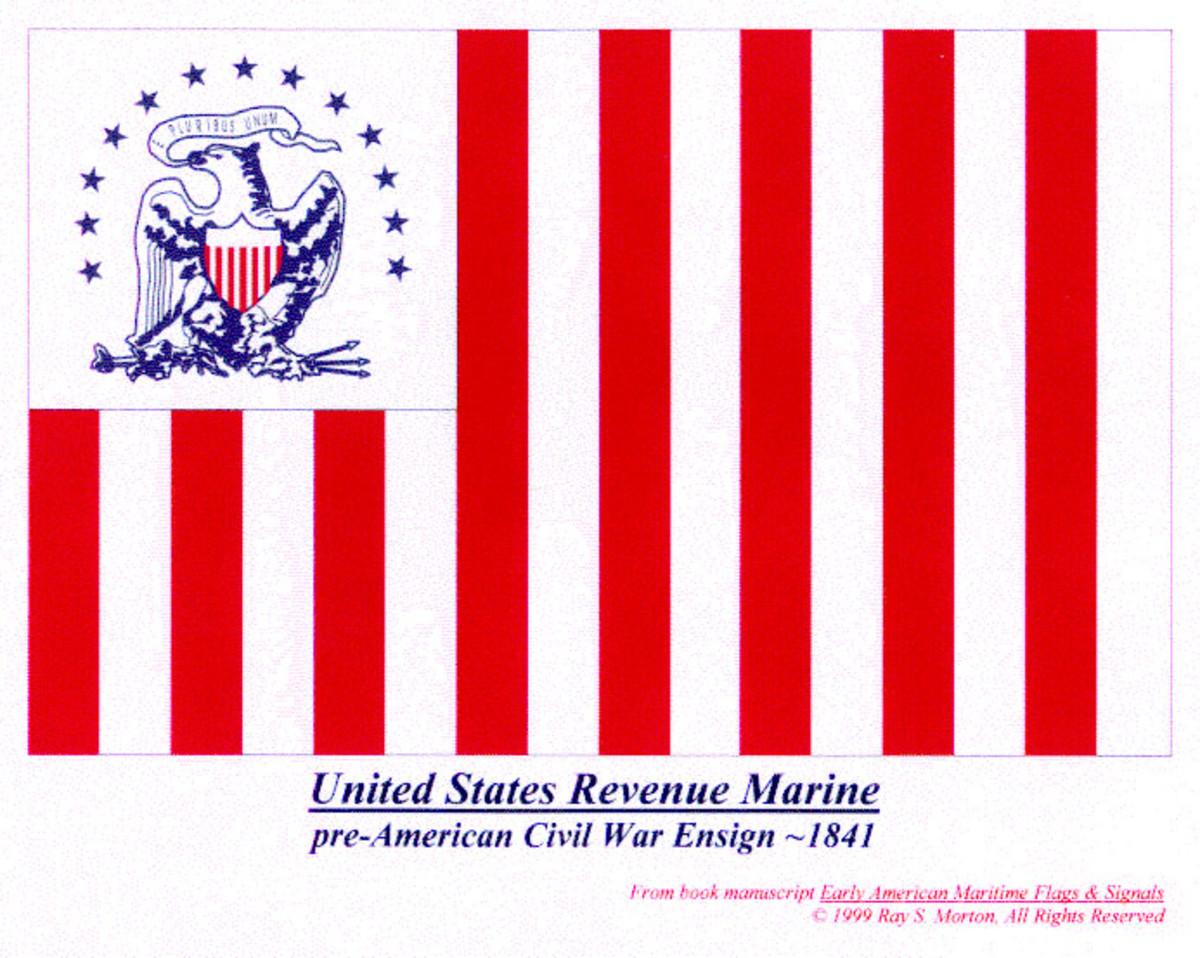 U.S. Revenue Cutter Service ensign flown during the Civil War. (Coast Guard Collection)