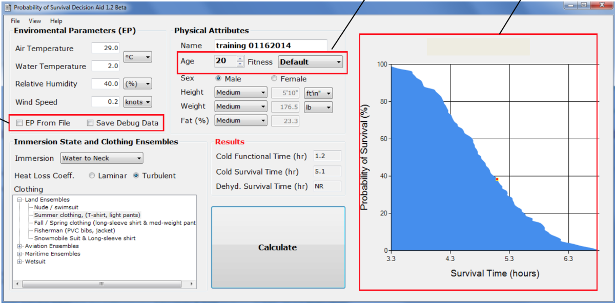 A screenshot of the U.S. Army-developed Probability of Survival Decision Aid (PSDA)