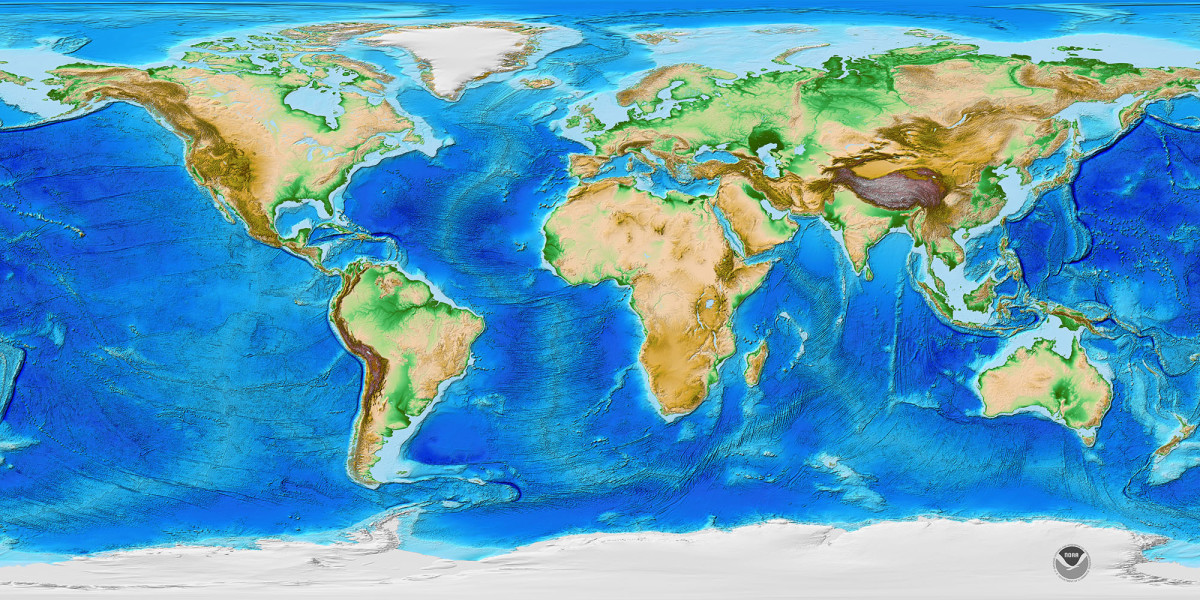 NOAA's ETOP01 Global Relief Model of Earth's Surface.