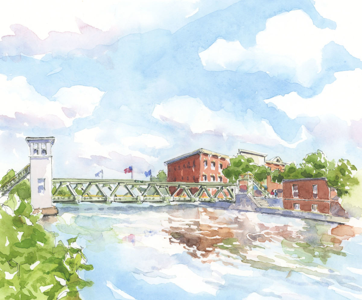 Fifteen lift bridges carry traffic over the Erie Canal in western New York. When a boat approaches, the operator stops traffic on the roadway and raises the deck of the bridge 15 feet to give clearance undefinedfor passing boats.