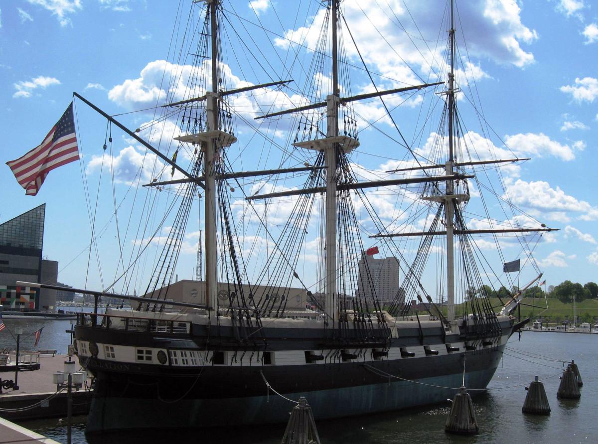 USS Constellation, restored Civil War naval vessel.