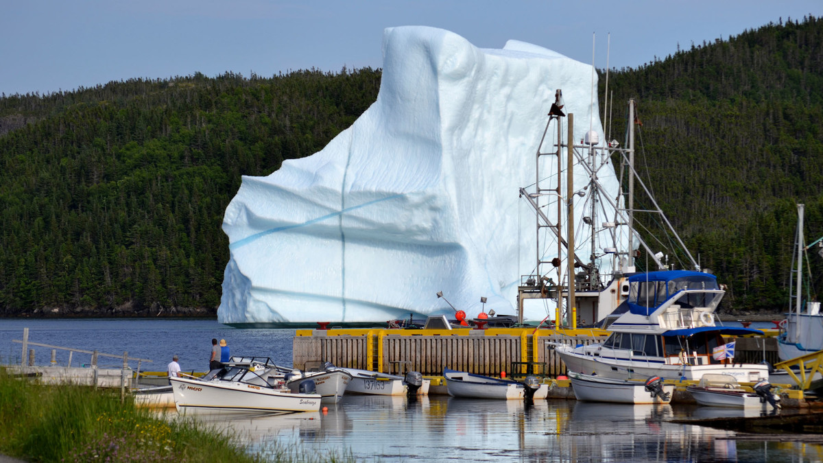 An iceberg invades a small port.