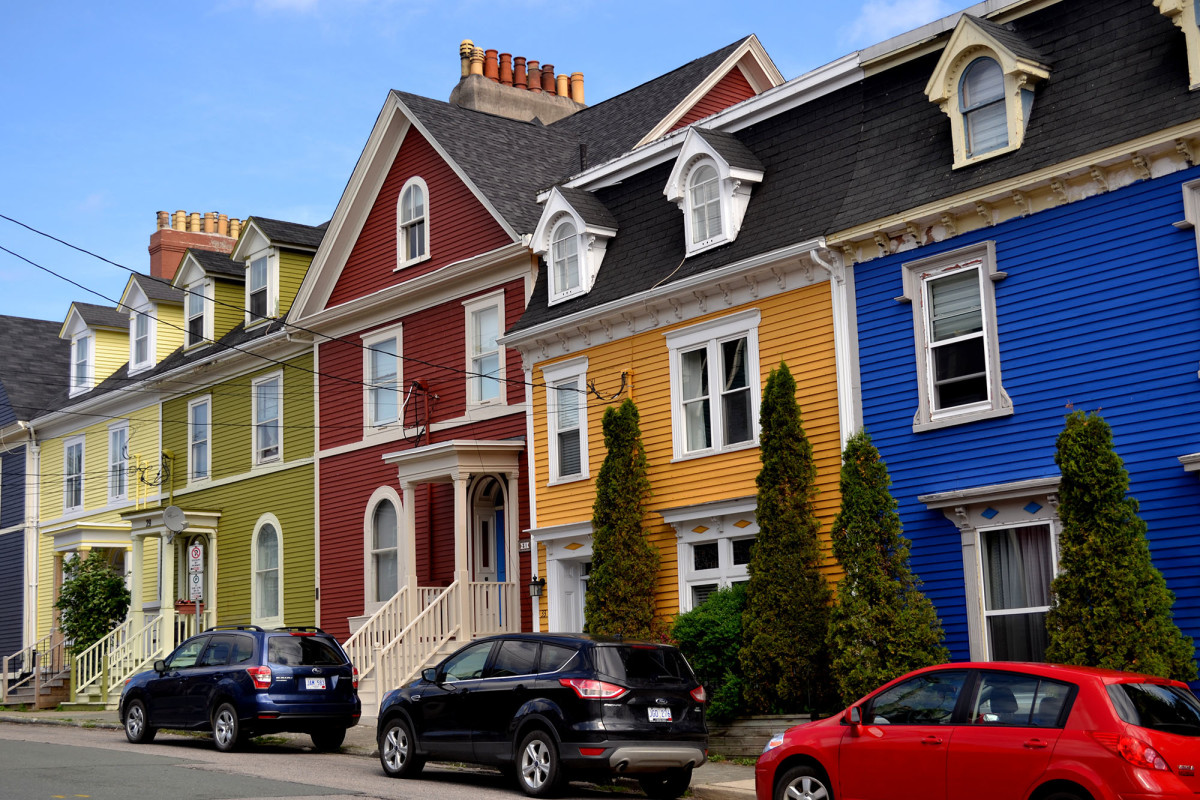 In St. John's, tightly packed rows of colorful houses are known as Jellybean Rows.