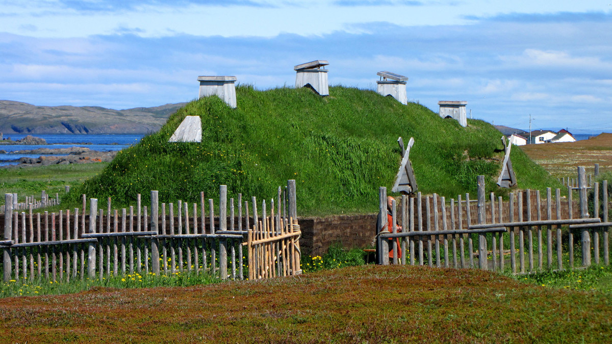 A Norse sod longhouse at L'Anse aux Meadows. This is the only confirmed site of Viking/Norse settlement in North America.