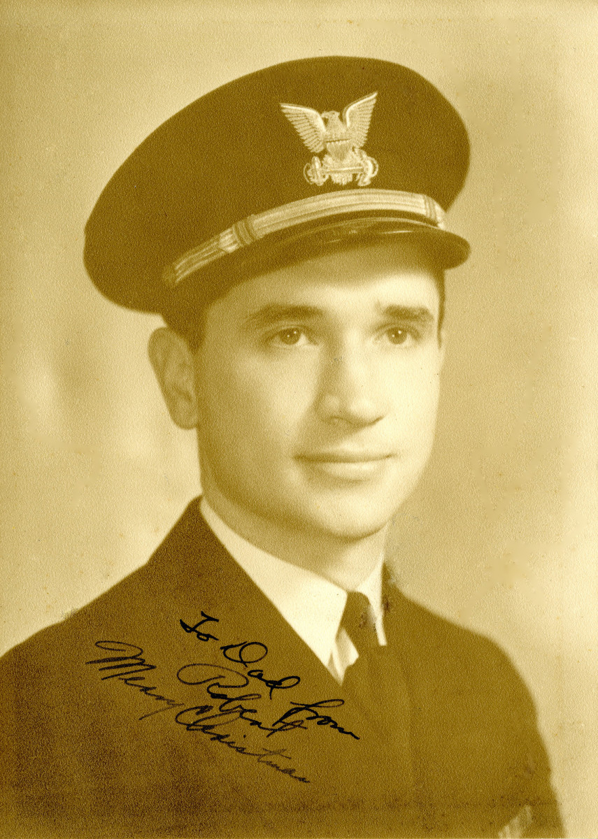 A Christmas photograph sent by Lt. Robert Prause to his father in Norfolk, Va.