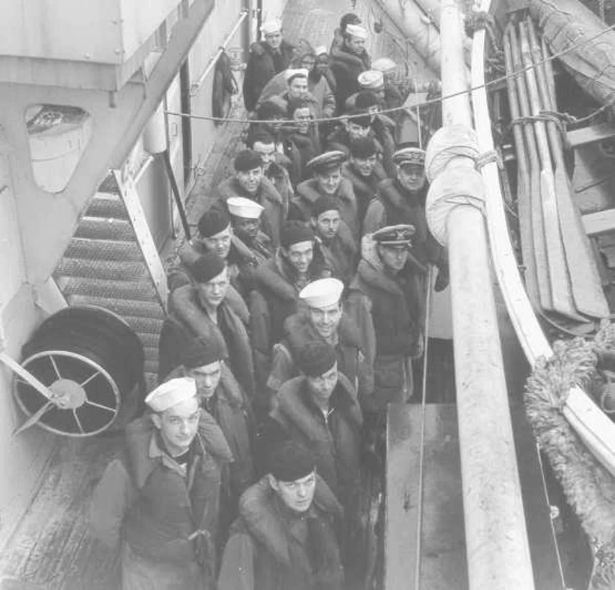 """All hands at Quarters on deck;"" circa late 1942 (original caption)."