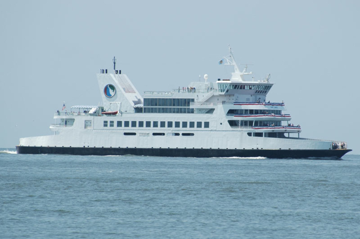 The M.V. Twin Capes as she approaches he Cape May, New Jersey, terminal on July 4, 2005. She was intentional sunk on June 15th, 2018 to become part of the Del-Jersey-Land Inshore Artificial Reef.