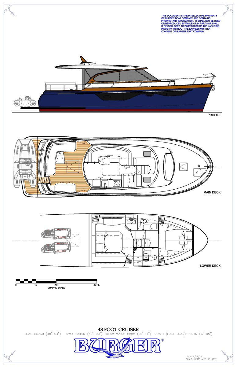 The Burger 48' Cruiser General Arrangement.