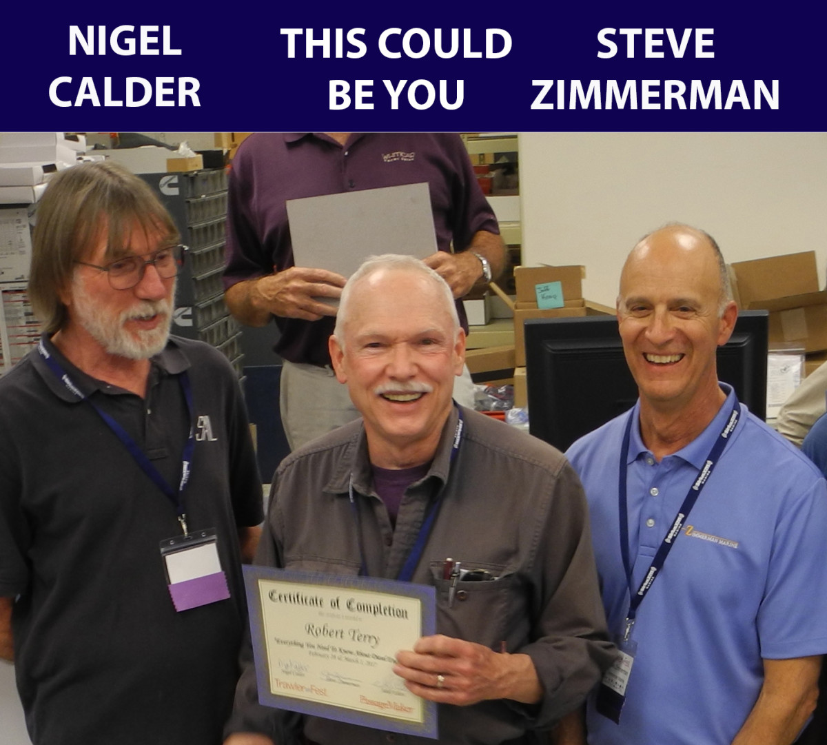 "Attendee Robert Terry receives his certificate for ""Everything You Need To Know About Diesel Engines from Nigel Calder and Steve Zimmerman."