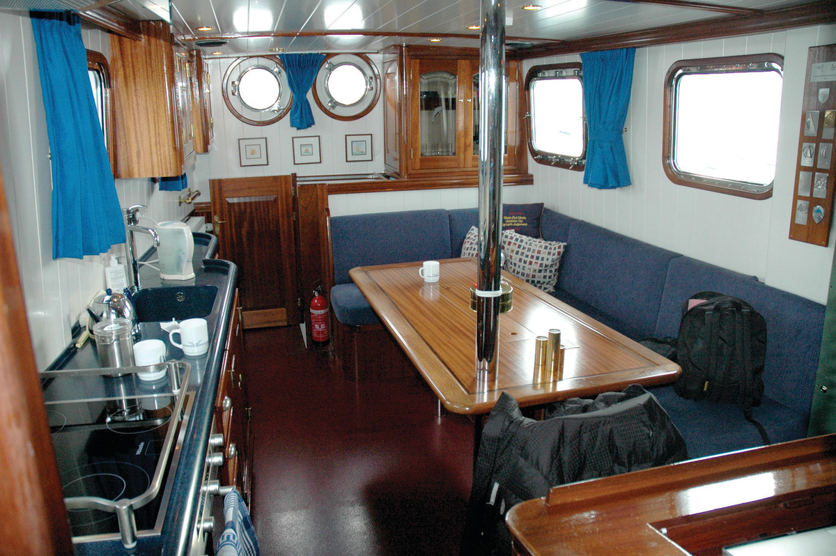 The upgraded salon and galley aboard Dolphin (ex-70-001).