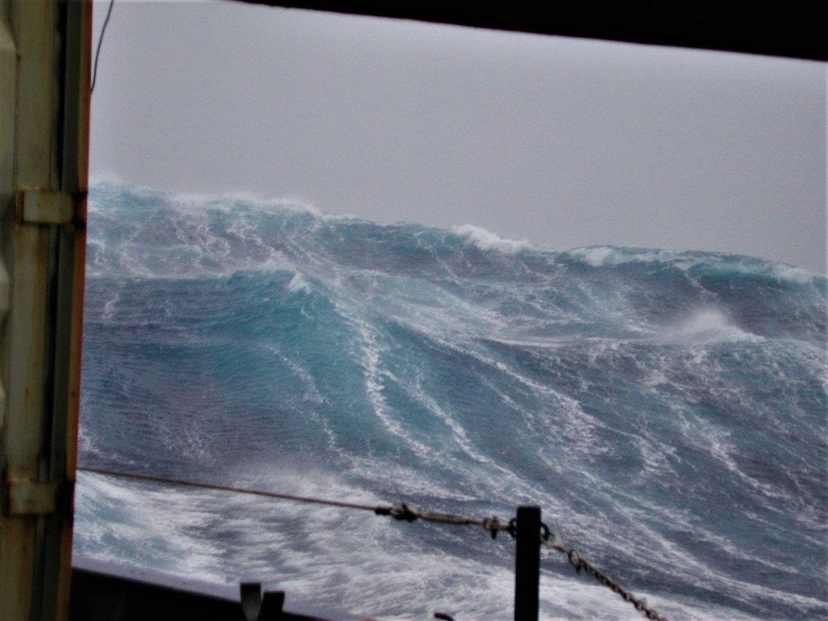 Steep following seas like this are just another day on the job for a lifeboat pilot.