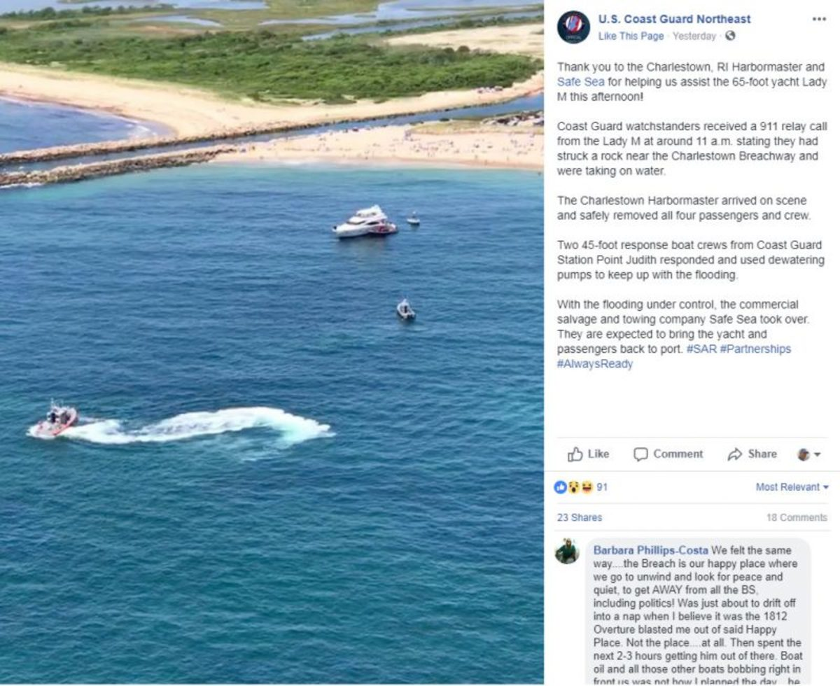 U.S. Coast Guard Northeast Facebook entry