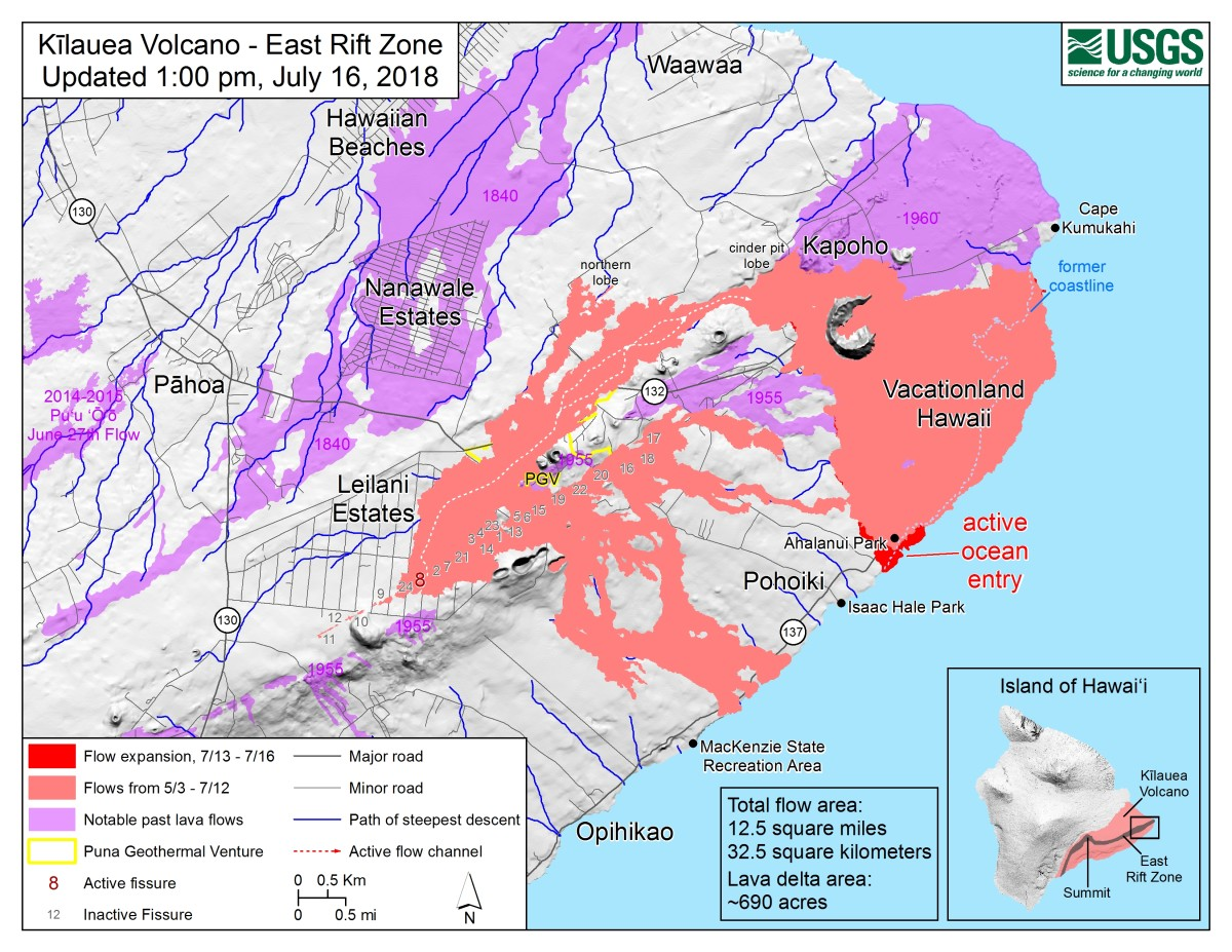 A US Geological Service map on the current lava flows from Kilauea.