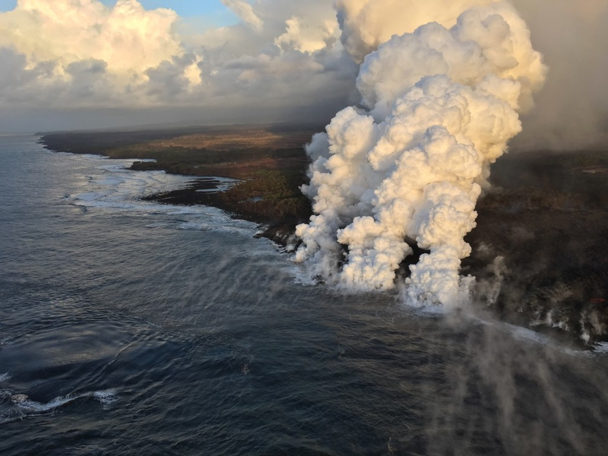 The active ocean entry point for the Kilauea volcano.