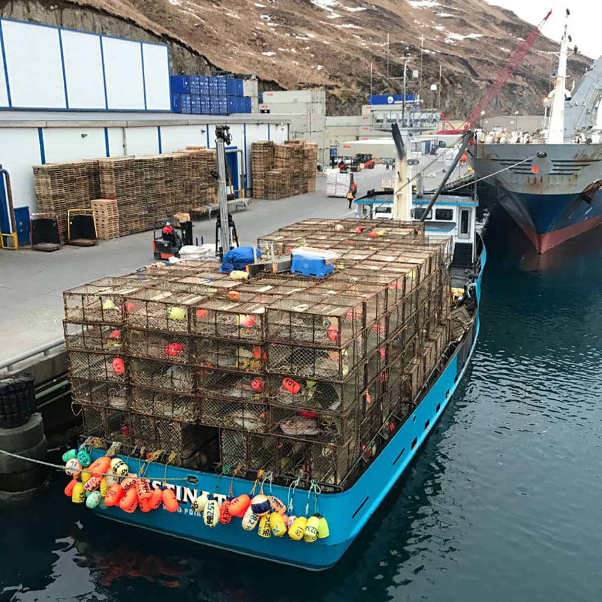 Crab pots that the Destination was carrying during its stopover at Dutch Harbor.