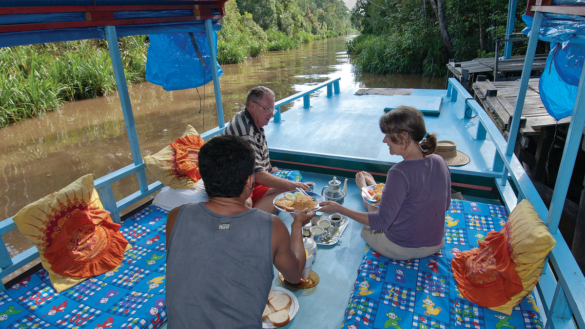 Breakfast on our klotok charter, which took us to Camp Leakey in the Tanjung Puting National Park.