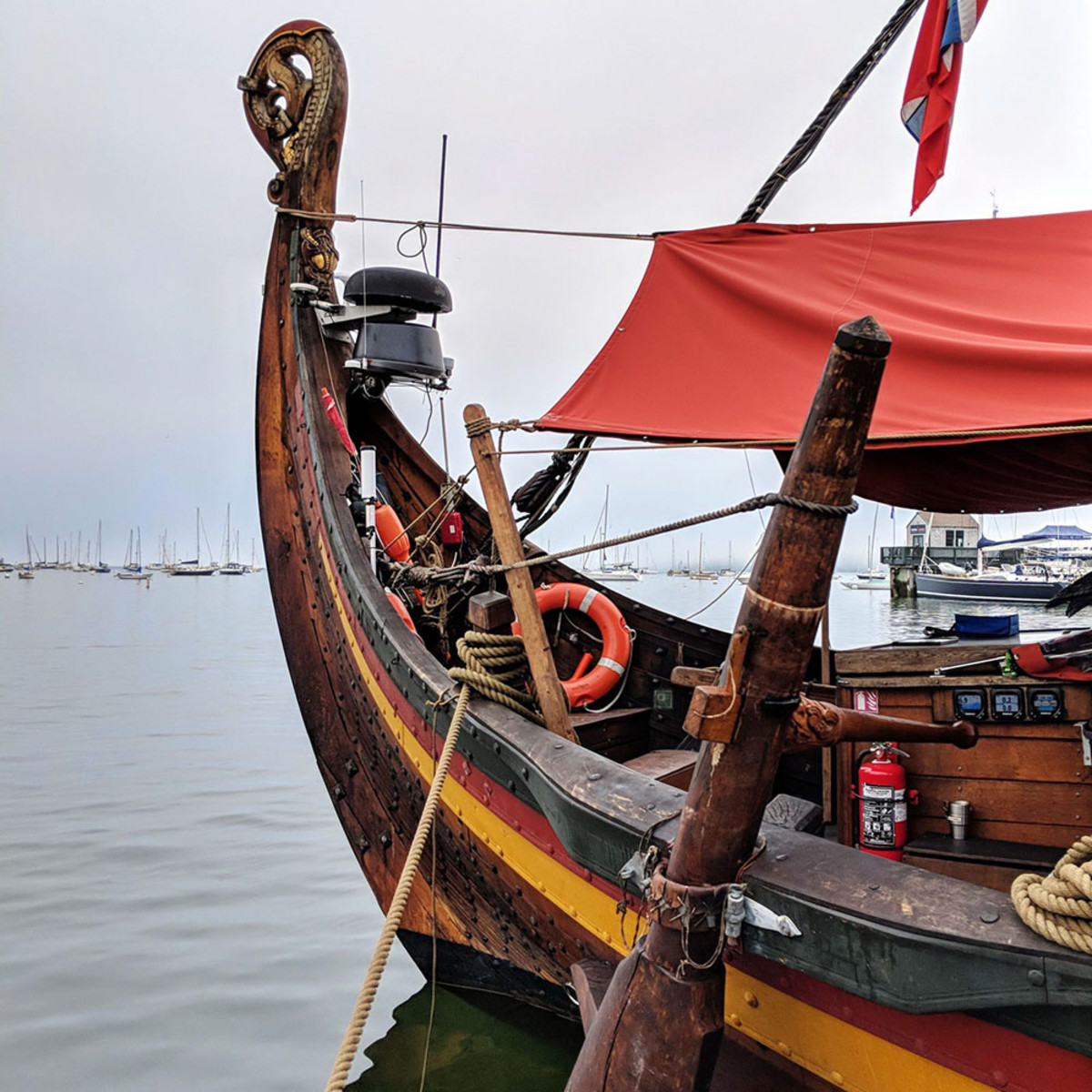 Draken stern with steering oar and some modern day guidance.