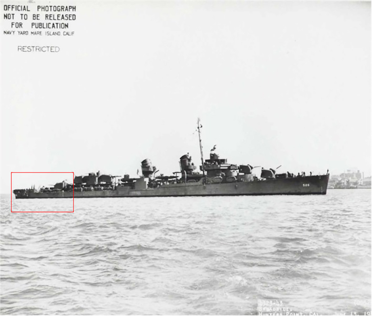 Historical image of the USS Abner Read. The red box indicates that section of the vessel that was blown off and sunk when the vessel struck a mine on August 18, 1943.