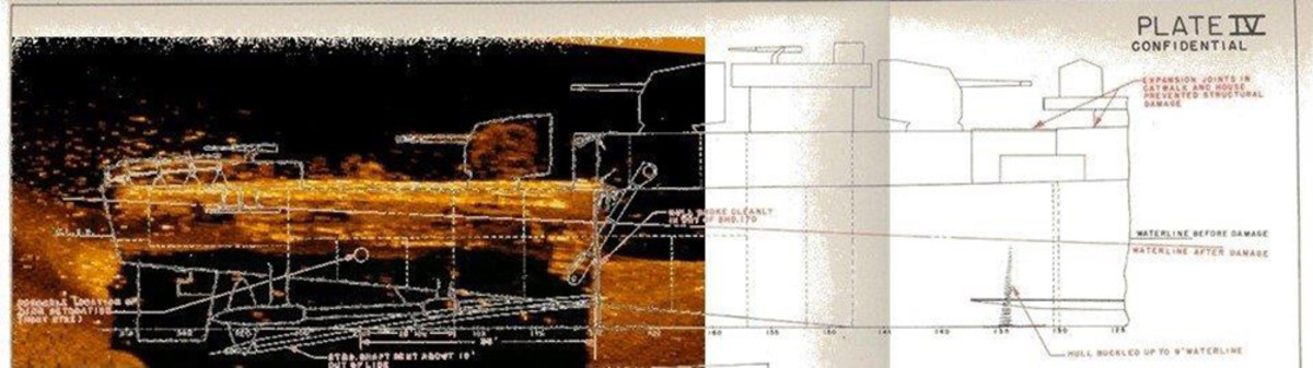 Battle damage schematic of the USS Abner Read overlaid on top of a sidescan sonar image of the wreckage of the USS Abner Read stern section collected during the expedition.