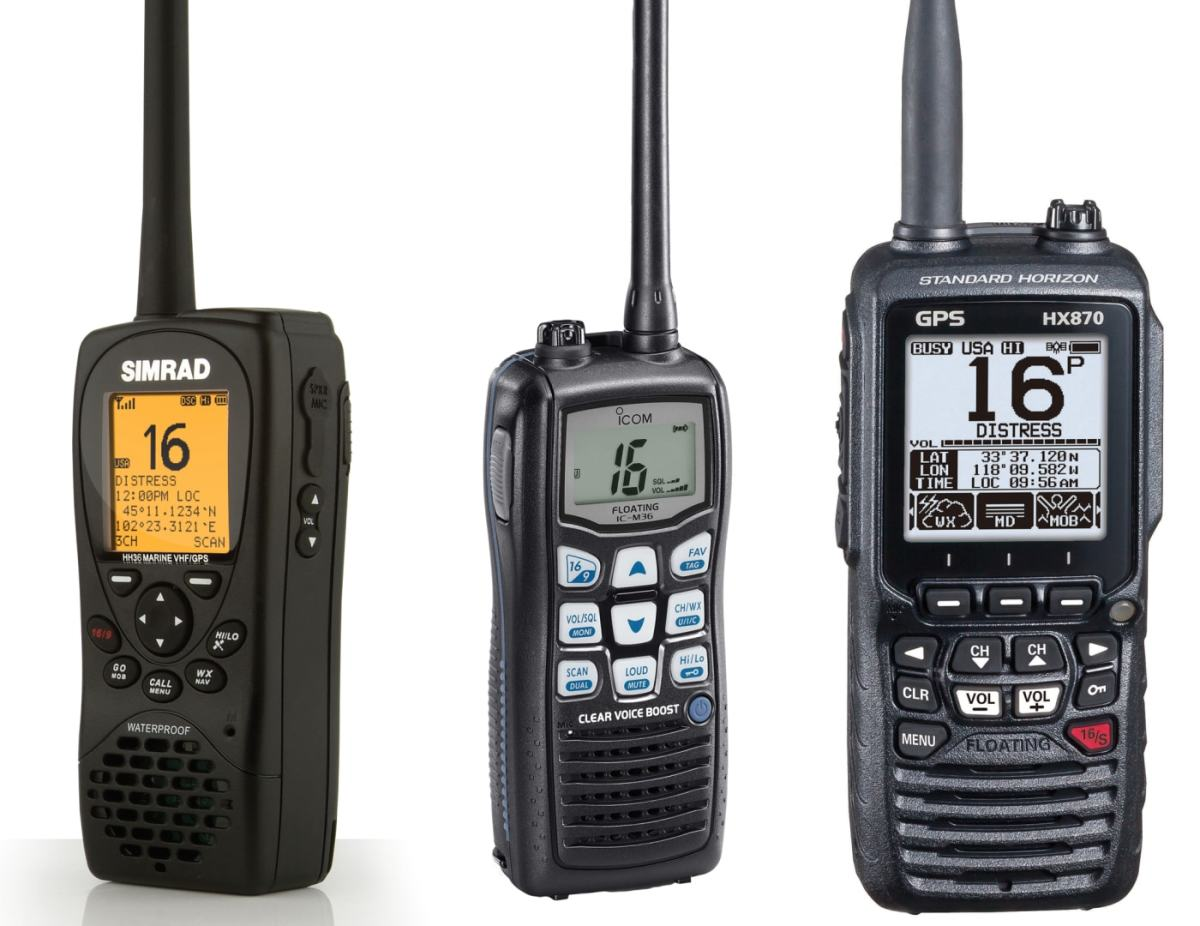 A few different VHF radios that are available on the market.