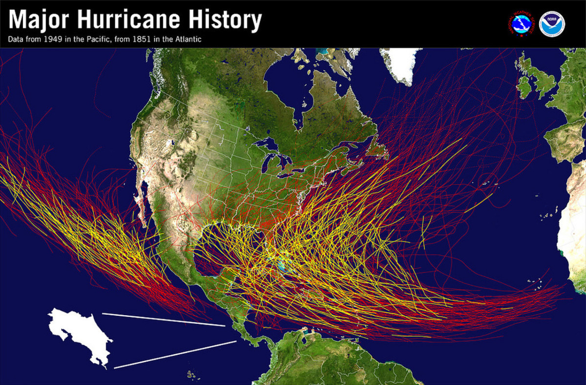 The tracks of major hurricanes.