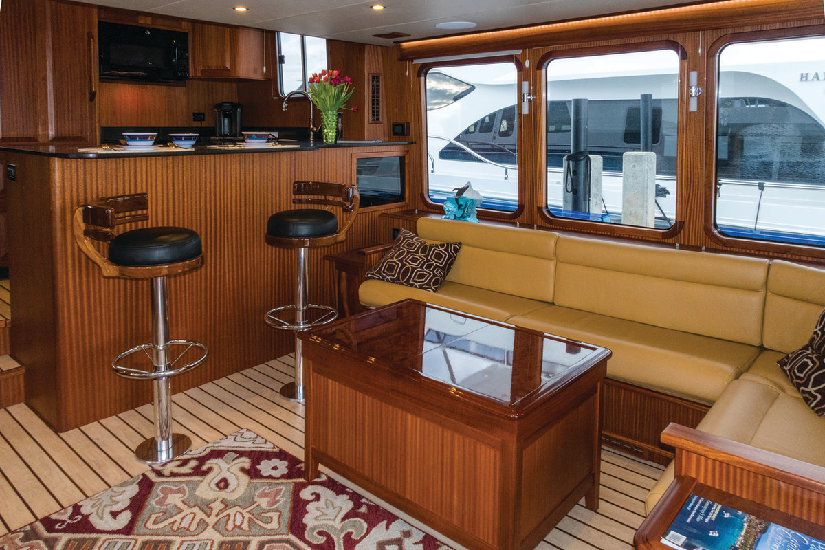Starboard side settee and galley.