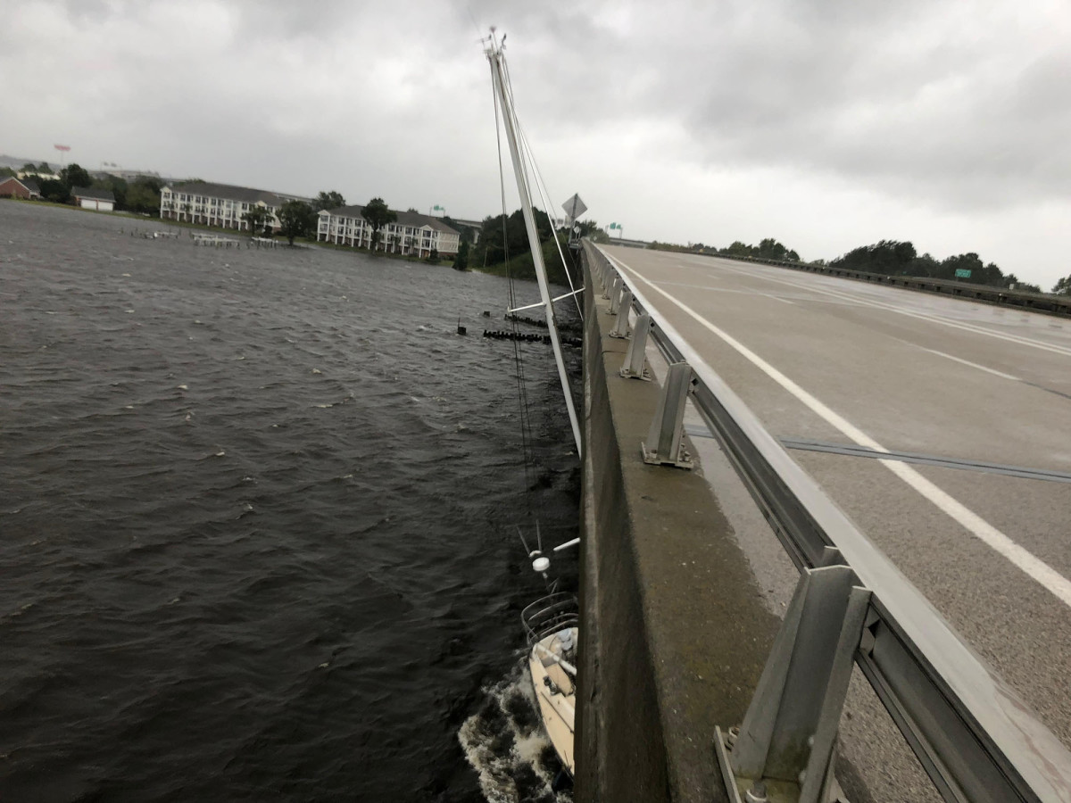 Hurricane damage from the eyewall destroys North Carolina Marina.